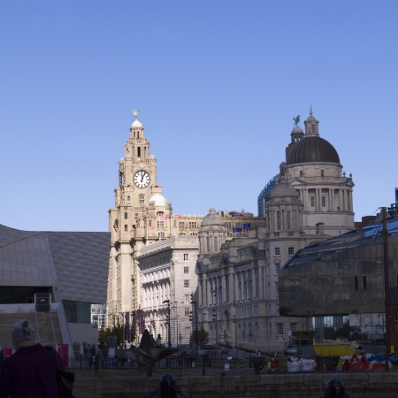 dockside: The Liver Building and Dockside in Liverpool England Editorial