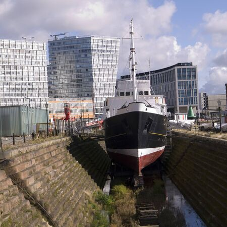 dockside: Dry Dock and Dockside Buildings in Liverpool England