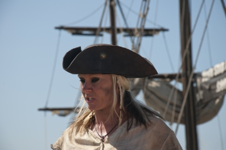 reenactor: Lady Pirate  Re-enactor on Pirate Ship in San Diego California USA  model Release uploaded