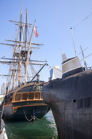 Galleon and Soviet submarine in San Diego California USA photo
