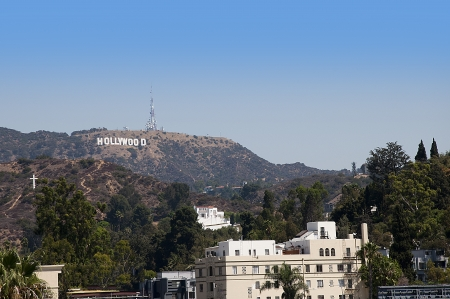 The Hollywood Sign in the Hills above the City California USA