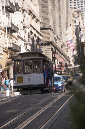 Cable Car near Union Square in San Francisco California USA