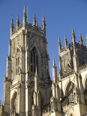 perpendicular: York Minster is a Gothic cathedral in York, England and is one of the largest of its kind in Northern Europe   Stock Photo