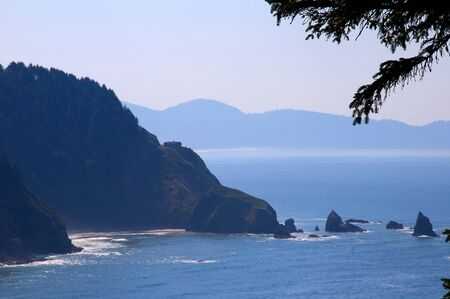 Three Arch Rocks State Park on the Pacific coast of Oregon USA