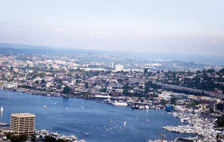 City scape from the top of the Space Needle in Seatte Washington USA photo