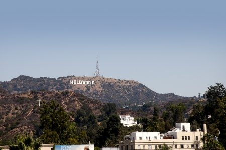 theater sign: The Hollywood Sign in the Hills above the City California USA