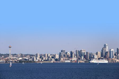 view of Seattle from Bainbridge Island across Puget Sound in USA photo