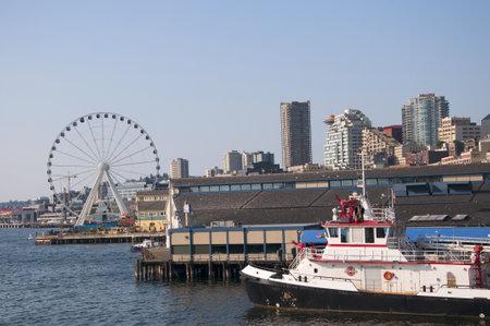 The city skyline of Seattle Washington State USA