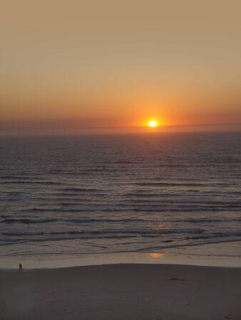 capes: Sunset at Coos Bay Oregon USA Stock Photo