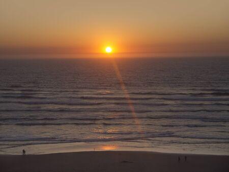 capes: Sunset at Newport on the Oregon Coast USA