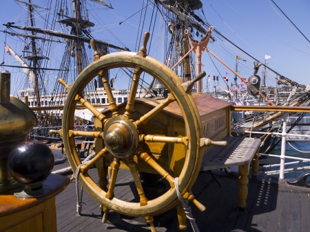 Deck of Tall Sailing Ship in Harbour of San Diego California USA