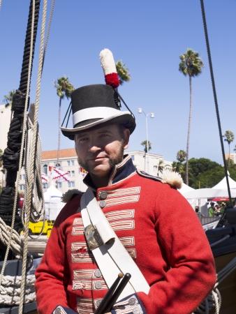 reenactor: El baterista brit�nico Marine Re-enactor en San Diego California