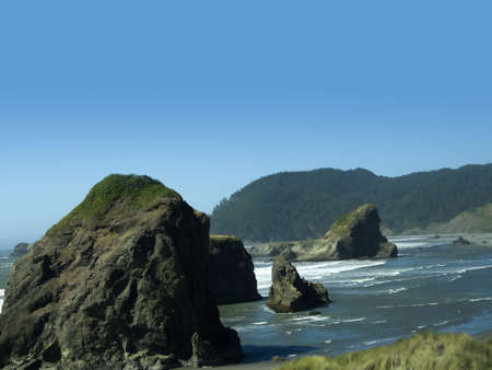 Three Arch Rocks State Park on the Pacific coast of Oregon USA Stock Photo - 16913993