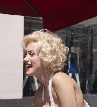 Wax work of Marilyn Monroe in Street in Hollywood