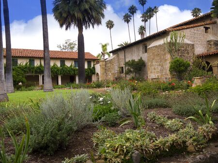 Garden of the Spanish Mission at Santa Barbara California USA photo
