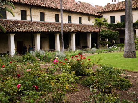 Garden of the Spanish Mission at Santa Barbara California USA