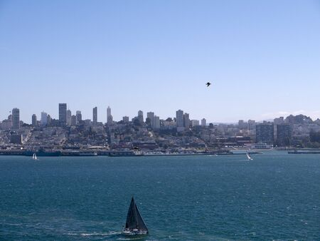 View of San Francisco from Alcatraz Prison California USA photo