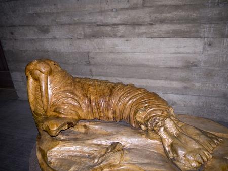 Carving of Walrus at Newport Aquarium Oregon USA Stock Photo - 17172303