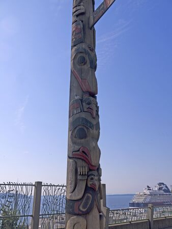 Totem Pole in Pike Place Farmers Market,Seattle ,Washington State USA