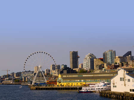 The city skyline of Seattle Washington State USA