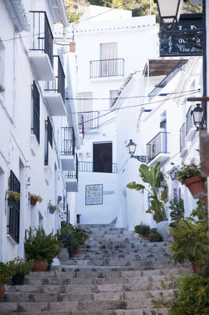 alpujarra: Frigiliana one of the most beautiful  white  villages of the Southern Spain area of Andalucia in the Alpujarra mountains