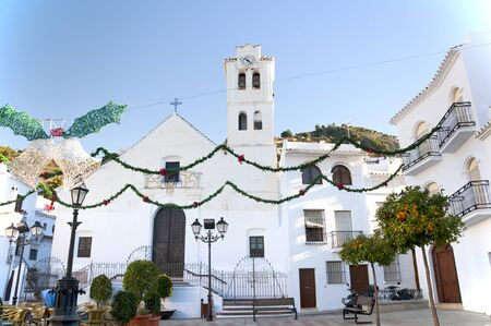 frigiliana: The Church in Frigiliana one of the White Villages in Andalucia Spain