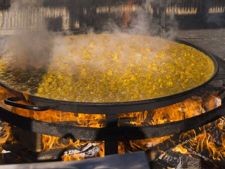 burriana beach: Cooking a gigantic paella on the beach at Nerja Andlucia Spain