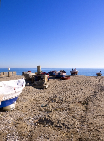 fishing boats on the Burriana Beach at Nerja Spain Stock Photo - 17346681