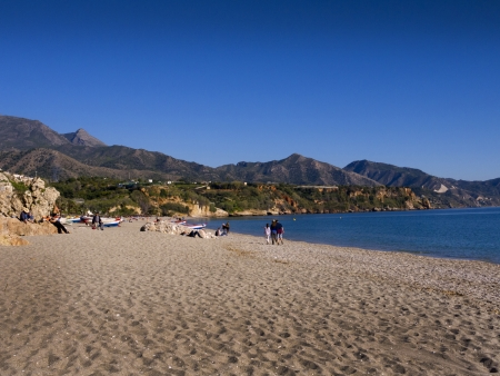 alpujarra: the Burriana Beach in Nerja Andalucia Spain Stock Photo