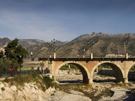 burriana beach: Nearly dry River Chillar in Nerja Andalucia Spain