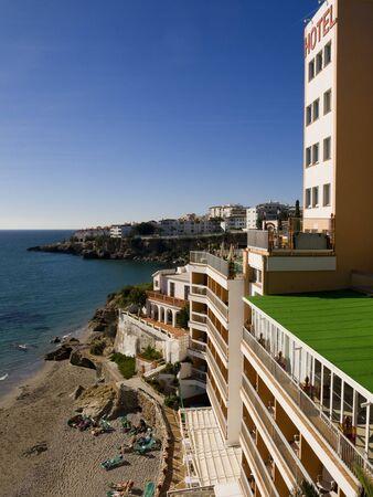 balcon: View from the Balcon de Europa in Nerja Andalucia Stock Photo