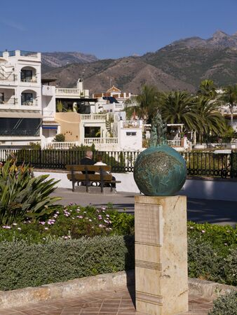 Monument to to boys who discovered the Caves of Nerja in Spain photo