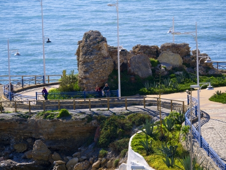 Old Martello tower in Nerja Spain that used to guard against Barbary Pirates