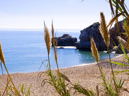 burriana beach: View over the Burriana Beach in Nerja Spain Stock Photo