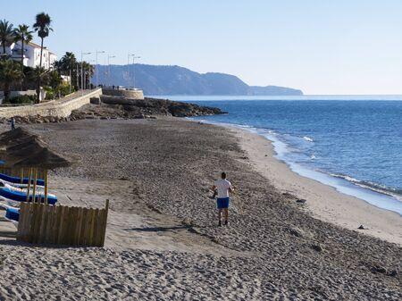 nerja: Beach at Nerja Andalucia Espa�a Foto de archivo