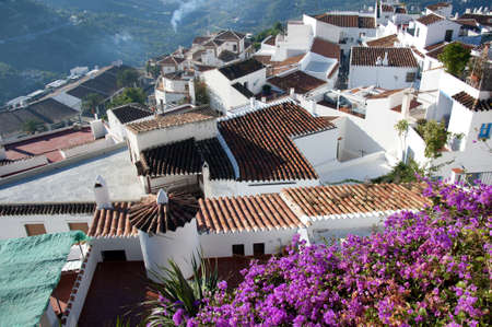 burriana beach: Frigiliana one of the most beautiful  white  villages of the Southern Spain area of Andalucia in the Alpujarra mountains