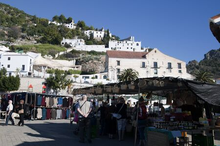 Market at Frigiliana one of the most beautiful  white  villages of the Southern Spain area of Andalucia in the Alpujarra mountains