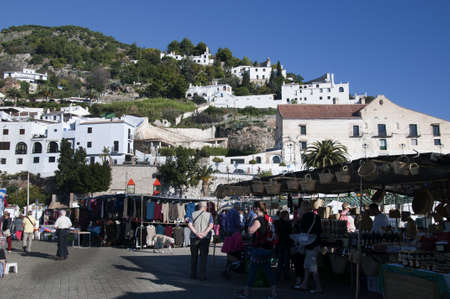burriana beach: Market at Frigiliana one of the most beautiful  white  villages of the Southern Spain area of Andalucia in the Alpujarra mountains