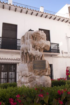 burriana beach: Memorial to the boys who discovered the Caves at Nerja in Spain