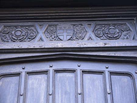 lintel: Carved lintel on door in Ripon Yorkshire