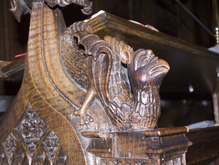 reredos: Woodcarving in Ripon Cathedral in Yorkshire England