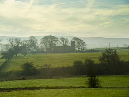 moors: Misty morning on the Yorkhire Moors in England Stock Photo