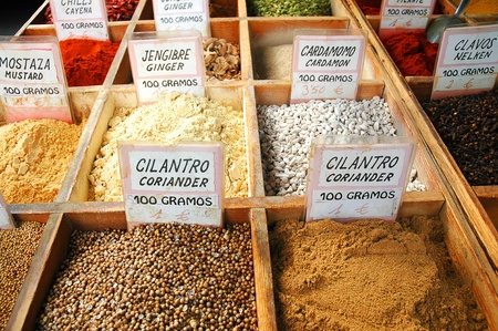 Spices on market in Benalmadena Andalucia Spain Europe photo