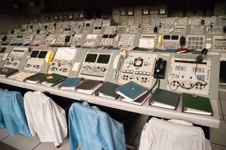 Original computer equipment used for the first trip to the Moon at Kennedy Space Centre Florida USA