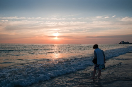 Sunset over the beach in St Petes Florida USA photo