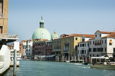 gondoliers: View down the Grand Canal in Venice Italy Stock Photo