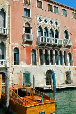 clock of the moors: Motorboat on the Grand Canal Venice Italy