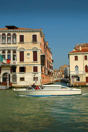 Motorboat on the Grand Canal Venice Italy