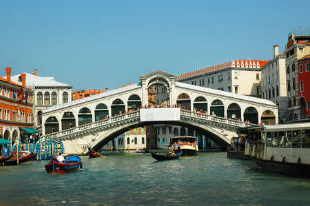 Rialto Bridge on Grand Canal. Every corner in Venice discloses a different face of the city  La Serenissima is beautiful at all times of the day