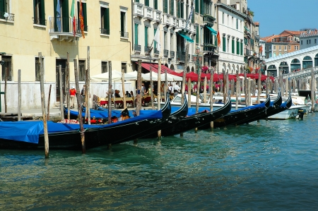 clock of the moors: Gondolas on the Grand Canal in Venice Italy